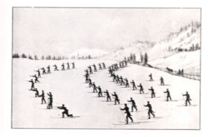 1820 - Illustration showing military exercises on skis, soldiers using a single pole, for propulsion and to steady their aim