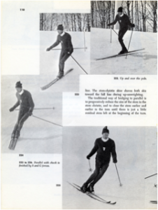 1972 - Photos of instructor from Cannon Mtn., NH, demonstrating Parallel Turn with Check and pole use